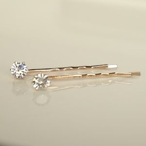 NWT 2 Diamond style stud Gold bobby hair pins.